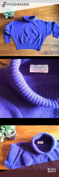 BENETTON vintage cropped cowl purple sweater. Warm and flattering sweater, cowl neck and narrow waistline. Very nice style, it goes perfect with high wasted jeans or pencil skirt. Wool and angora blend. Very nice and vibrant purple color. United Colors Of Benetton Sweaters Cowl & Turtlenecks