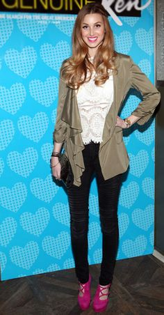 Blonde Beauty Whitney Port wears James Jeans Moto Skinny in Black Out. Click to steal her style!