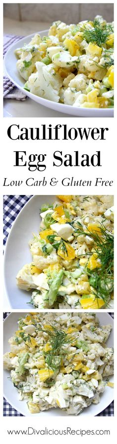 Cauliflower Egg salad is a great low carb alternative to potato salad.  A great dish for summer too!