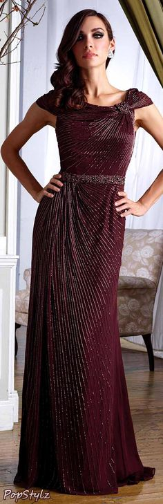Terani Couture m1451 Long Dress  Suggested Price $ 850.00  Color: Choco Brown  Authentic Terani Couture  Beautiful Beaded Lines  See Dress Availability (Amazon)