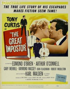 """TONY CURTIS was """"THE GREAT IMPOSTER"""" with FRANK GORSHIN as """"Barney"""" in this 1961 film."""