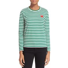 Comme des Garcons 'Play' Stripe Tee (215 CAD) ❤ liked on Polyvore featuring tops, t-shirts, green top, long sleeve tee, stripe tee, cotton tee and crew neck tee