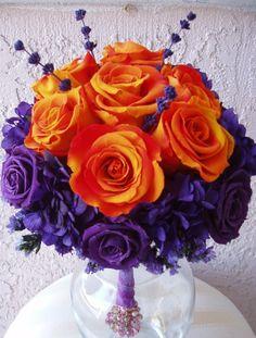 purple and orange flowers (i love them)