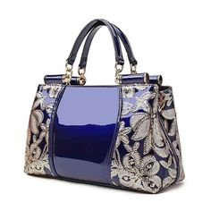 Sequin Embroidered - Patent Leather Handbag