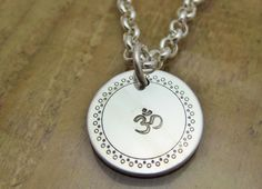 Om Symbol Charm Necklace Sterling Silver Rolo Chain by tsojewelry, $70.00