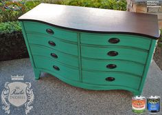 The Rustic Duchess, https://www.facebook.com/TheRusticDuchess?fref=ts, gave this dresser a fresh new look with GF Patina Green Milk Paint accented with Van Dyke Brown Glaze and a Java Gel stained top. #generalfinishes #gfmilkpaint #gfglaze #javagel