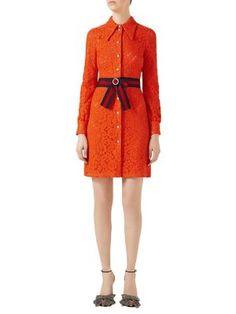 GUCCI Belted Cluny Lace Shirtdress. #gucci #cloth #shirtdress