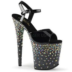 4239b03dac14 Pleaser PLEASER STARSPLASH-809 Women s High Platform Stars Studded Ankle  Strap Sandals Platform High Heels