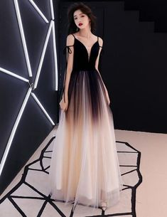 A Line Princess Evening Dresses, Sleeveless Spaghetti Straps Gradient Dress,Deep V Neck Prom Dresses Fancy dresses - Fancy prom dresses - Evening party dresses V Neck Prom Dresses, Sexy Dresses, Bridal Dresses, Evening Dresses, Fashion Dresses, Summer Dresses, Winter Dresses, Evening Tops, Modest Dresses