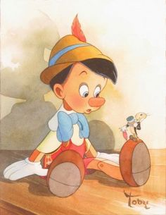 """Good Advice"" by Toby Bluth - Original Watercolor on Paper, 11x8.5.  #Disney #Pinocchio #JiminyCricket #DisneyFineArt #TobyBluth"