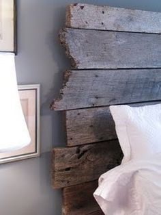 reclaimed wood headboard - I'd love to make on out of the red wood from the water tank at Gma and gpas!