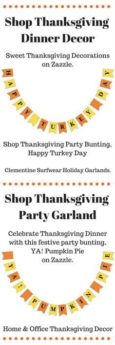 Shop Thanksgiving Dinner Party Bunting, HAPPY TURKEY DAY on Zazzle. And our Thanksgiving Day Party Garland, YA PUMPKIN PIE. Celebtrate in style with Thanksgiving decorations for your home or office.  #thanksgivingdinner #thanksgivingdecor #thanksgivinggarland #thanksgivingpartybunting #thanksgivingflagbanner #zazzle