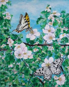 "Saatchi Art Artist Konnie Laumer; Painting, ""Paper Kite and Tiger Swallowtail"" #art"