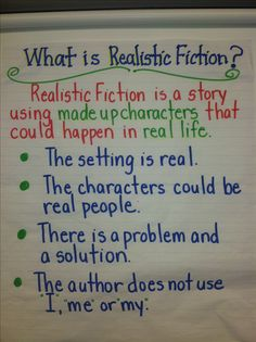 anchor charts for realistic fiction writing Fiction Anchor Chart, Genre Anchor Charts, Reading Anchor Charts, Fiction Writing Prompts, Narrative Writing, Writing Workshop, Informational Writing, Writing Process, Fourth Grade Writing