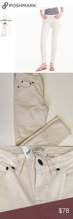 "🎉HP🎉🎊J Crew Super Skinny Stretch Jeans. Size 26 J Crew Skinny Jeans , ECRU/ Off White, sits at hip , true to size, approximate measurements: inseam 28"",rise 8 3/4"" 92% cotton 7% polyester 1%spandex J Crew Jeans Skinny"