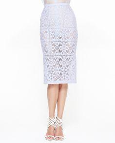 $995.0  Burberry Prorsum Trellis Lace Midi Pencil Skirt, Pale Lavender