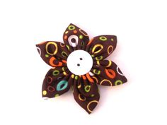 Flower for Dog Collar  Colorful Rings on Brown by TheEmPURRium, $7.25