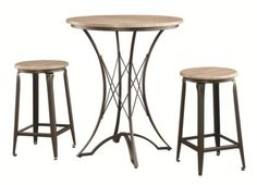 3-Piece Counter Height Distressed Wood & Black Metal Table Set by Coaster  www.cccstores.com/counter-table-set-coaster-100006.html