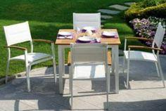 Set tavolo e 4 sedie alluminio e tek Outdoor Furniture Sets, Outdoor Decor, Home Decor, Decoration Home, Room Decor, Home Interior Design, Home Decoration, Interior Design