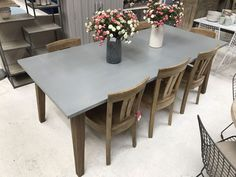 Extra Large Designer Brand Daddy Zinc Dining Table With Weathered Oak Frame Amazing Ideas