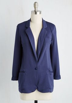 Casual Compatible Blazer. Though this knit blazer is totally posh, it can for sure be worn for more nonchalant occasions, too! #blue #modcloth