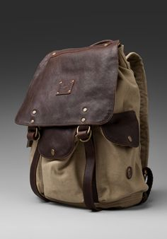 WILL Leather Goods Lennon Rucksack in Khaki/T.Moro