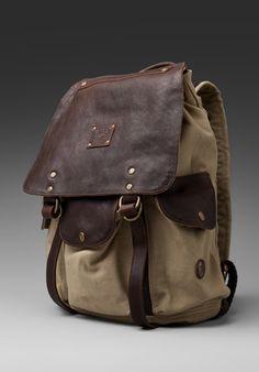 WILL Leather Goods Lennon Rucksack in Khaki/T.Moro