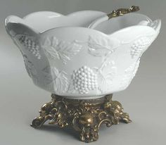 COLONY Harvest-Milk Glass punch bowl with metal base- WOW!