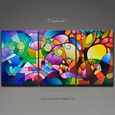 Abstracta, pintura al acrílico, tríptico, arte geométrico, abstracto paisaje pintura 72 x 36 pulgadas
