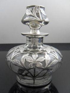 silver overlay perfume bottle