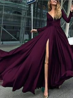 Charming Cheap Custom Long Sleeves Dark Burgundy Simple Soft Prom Dres – SposaBridal Sexy Off the Shoulder V Neck Long Prom Dress Different Dresses, Simple Dresses, Elegant Dresses, Prom Dresses With Sleeves, Homecoming Dresses, Quinceanera Dresses, V Neck Wedding Dress, Wedding Dresses, Bridesmaid Dresses