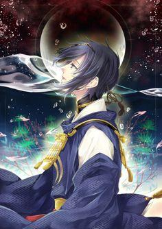 Touken Ranbu, Mikazuki Munechika Hot Anime Boy, I Love Anime, Anime Guys, Anime Figures, Anime Characters, Anime Manga, Anime Art, Touken Ranbu Mikazuki, Natsume Yuujinchou