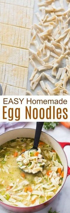 Healthy Recipes : Illustration Description Homemade Egg Noodles with four simple ingredients and no special equipment. These delicious noodles are perfect for soups, stews, stroganoff or plain with butter and cheese. Pasta Recipes, New Recipes, Soup Recipes, Cooking Recipes, Favorite Recipes, Chicken Recipes, Chicken Soup, Healthy Recipes, Homemade Chicken And Noodles