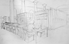 Clara Lieu, Student Artwork, RISD Illustration department, Drawing I: Visualizing Space course, studies on 2 point perspective from direct observation, graphite, 2015