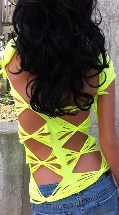 Neon Yellow Shredded Shirt. $35.00, via Etsy.
