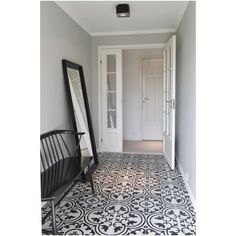 Apavisa Hydraulic - United Tile Hallway Bench, Front Hallway, Bungalow, Victorian Farmhouse, Black Tiles, Entrance Hall, Basement Bathroom, Patio, Interior Inspiration