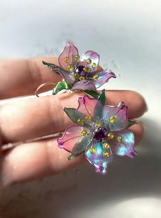 In Stock Spring Blooming Tree Earrings Floral Staind-glass image 9 Wire Jewelry Earrings, Wing Earrings, Resin Jewelry, Jewelry Crafts, Jewelry Art, Beaded Jewelry, Modern Jewelry, Jewlery, Plastic Bottle Flowers