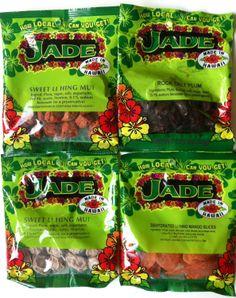Jade Brand Li Hing Mui Snacks - 4 Pack - Sweet, Red, Mango Li hing mui and Rock salt plum