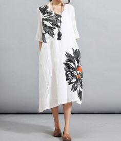 White/ Navy linen Long dress wrinkle knee length dress by MaLieb