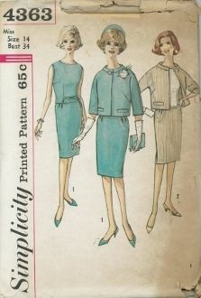 An unused original ca. 1960's Simplicity Pattern 4363.  Slim skirt has soft pleats at front waistline, left side zipper closing and back kick pleat.  Lined jacket features stand-up collar, below elbow length kimono type sleeves and welt trim.  Jacket buttons at front neck edge.  Overblouse has lowered neckline and optional self fabric tie ends in front darts above slit openings.
