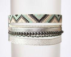 Bracelet 100% fait main ! MADE IN FRANCE MODELE DEPOSE DESCRIPTION : Bracelet tissé perles miyuki delicas Longueur du tissage : entre 13 et 13,5 cm ( PERSONNALISABLE ) Long - 12474677