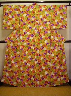 Vintage Japanese Kimono Shiny Light Orange Komon Dyed Leaf