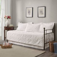 Eugenia Daybed 5pc Tufted Cotton Chenille Daybed Cover Set White : Target