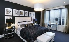 Black with a hint of gold in the bedroom [Design: Atmosphere Interior Design]