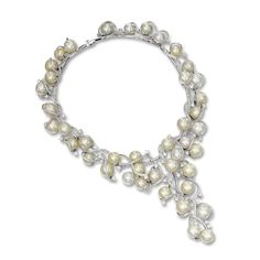Cultured Pearl and Diamond Necklace Set with forty-two cultured pearls measuring approximately 14.07 to 12.00mm, decorated by ribbon scrolls set with brilliant-cut and circular-cut diamonds together weighing approximately 14.50 carats, mounted in 18 karat white gold