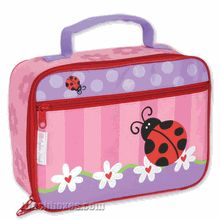 Brand new Ladybug design #lunchbox - new for 2012.  This very vibrant insulated lunch box shows a pretty ladybug on the front surrounded by flowers and pink candy-stripes.