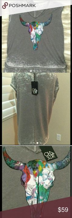 HP🐝 Chaser Bull Skull V-Neck Tunic Tee NWT Brand new, I love it but never wore it. Oversized Medium so it can fit a large too, 50% Cotton  and 50% Polyester.  Very soft distressed fabric. Soft gray ree, with an amazing colorful skull. Thank you @lyfebyandi for my HOST PICK. Chaser Tops Tees - Short Sleeve