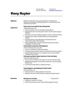 singer resume sample
