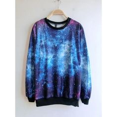 Blue Round Neck Galaxy Print Ribbed Sweateshirt$42 ($30) ❤ liked on Polyvore featuring tops, sweaters, udobuy, galaxy, galaxy print top, ribbed top, rib top, galaxy print sweater and galaxy top