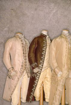Gentlemen's Frockcoats, waistcoats and breeches, Italy, 1780